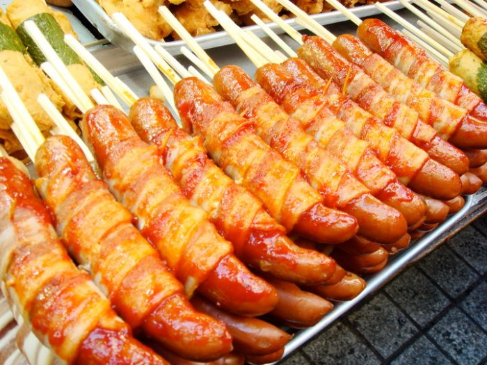 Seoul Bacon-Wrapped Sausages