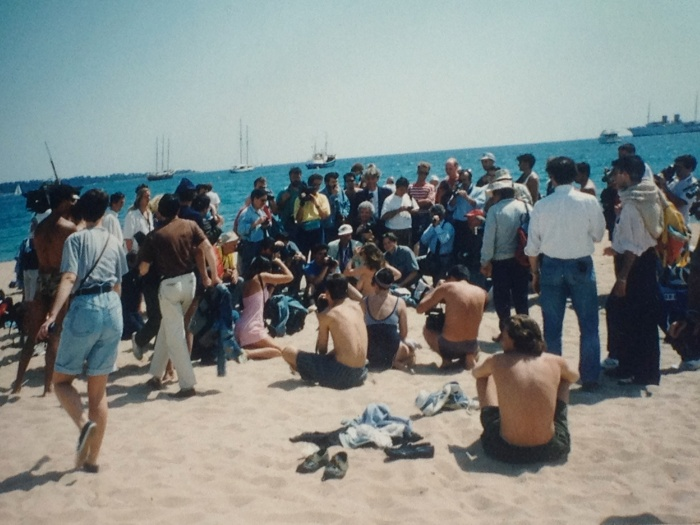 Cannes topless crowd