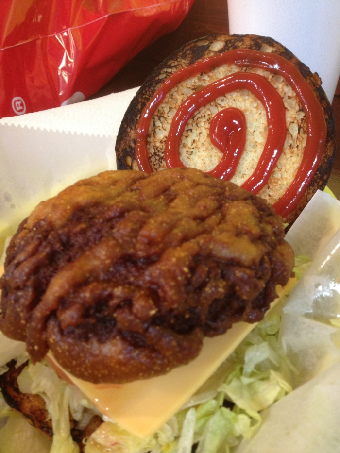 big & little deep fried cheeseburger