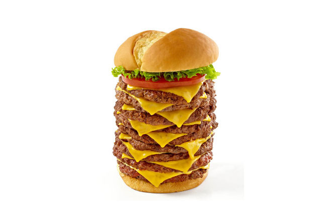 nine patty cheeseburger