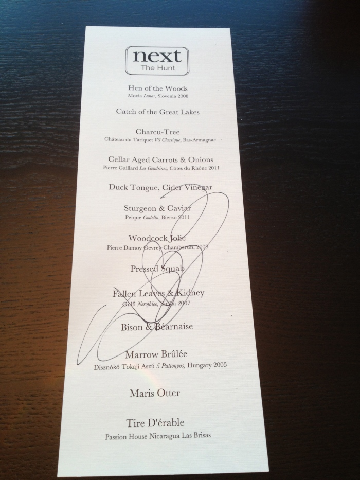 Next Restaurant The Hunt menu