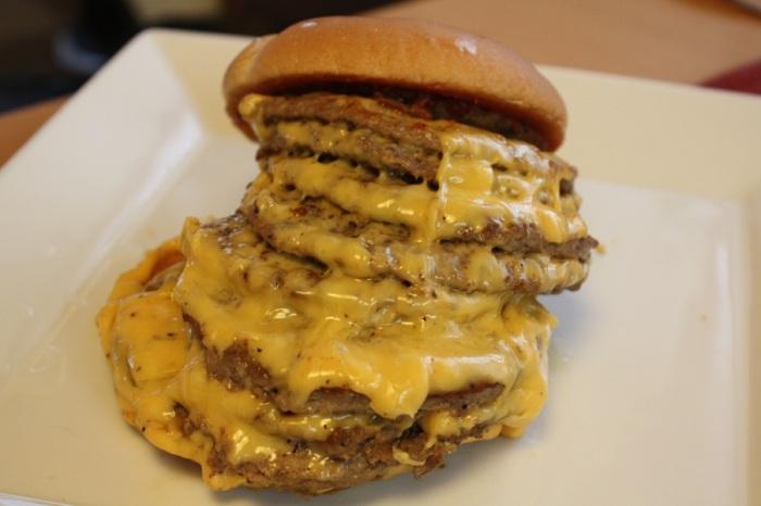 supersized cheeseburgers