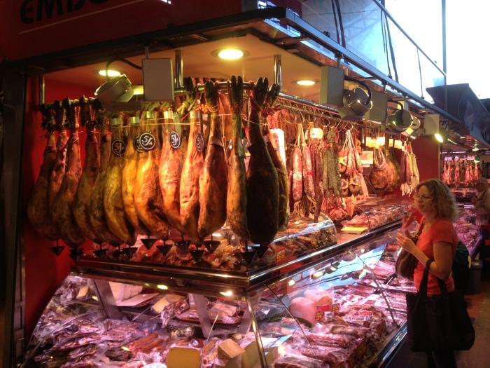 Barcelona hanging hams famous food market