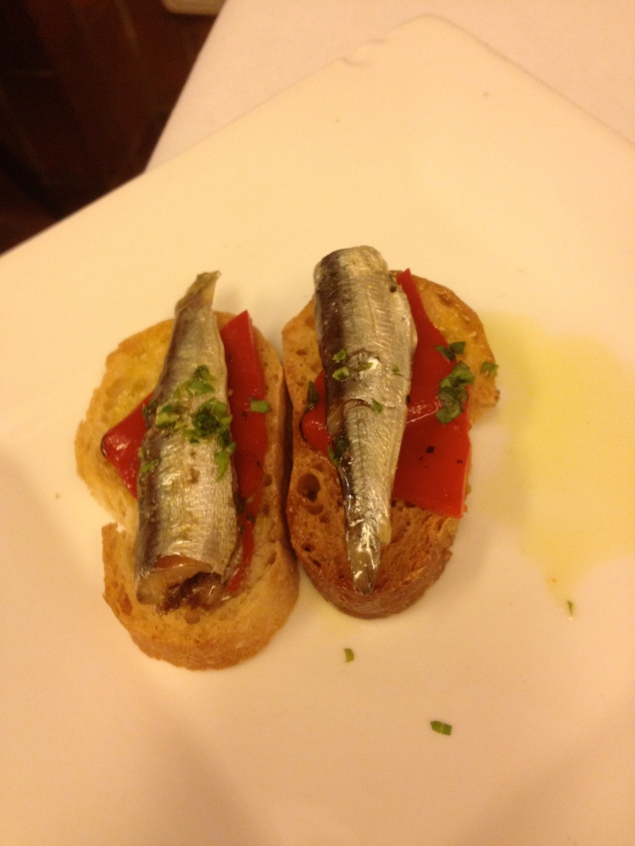 Cal Pep amuse bouche of sardine