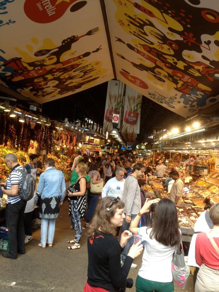 La Boqueria stall crowds