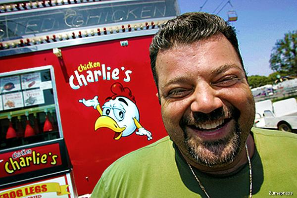 Chicken Charlie's krispy kreme sandwich
