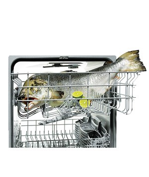 cooking salmon in a dishwasher