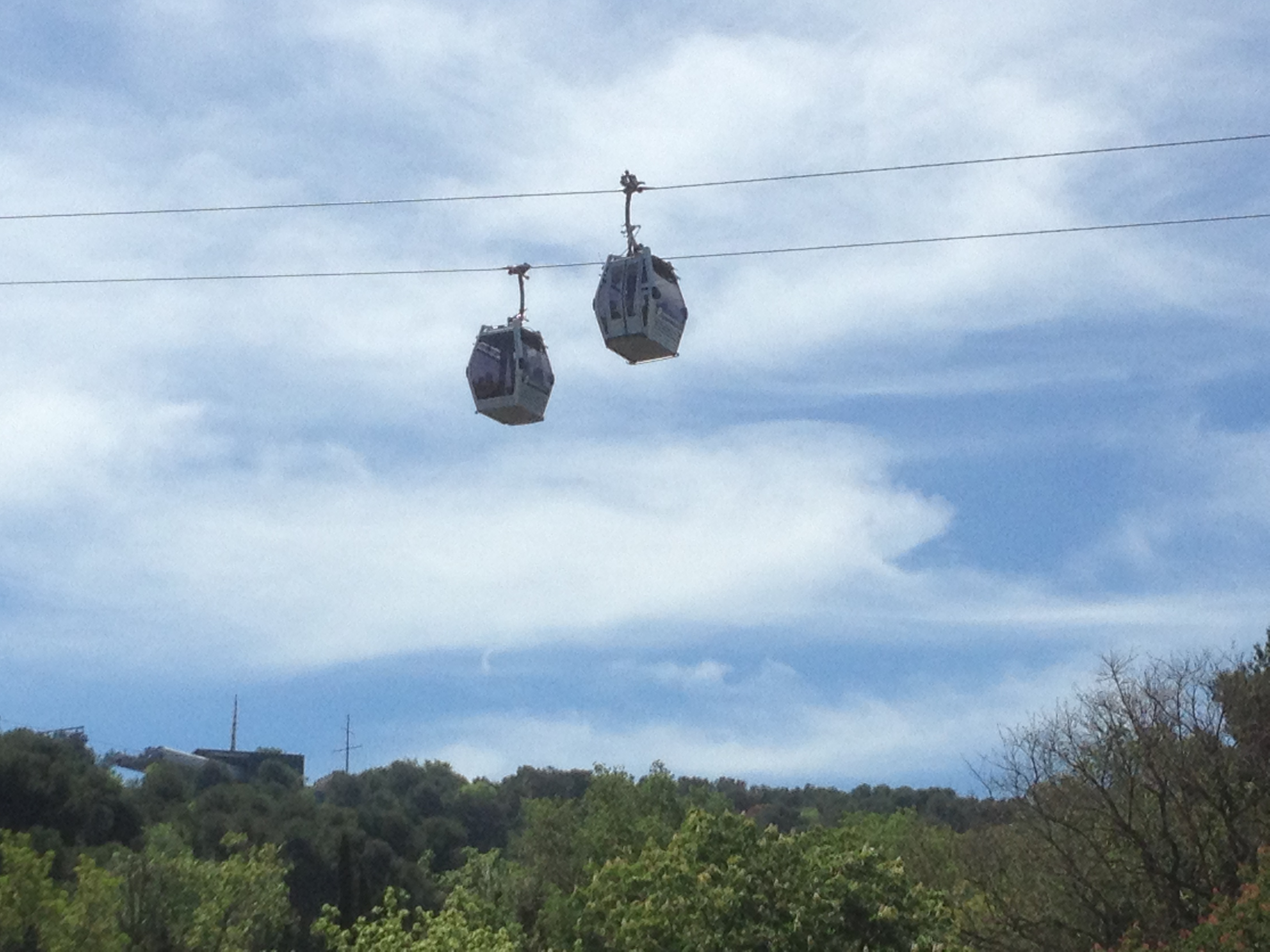 aerial tram in action from ground