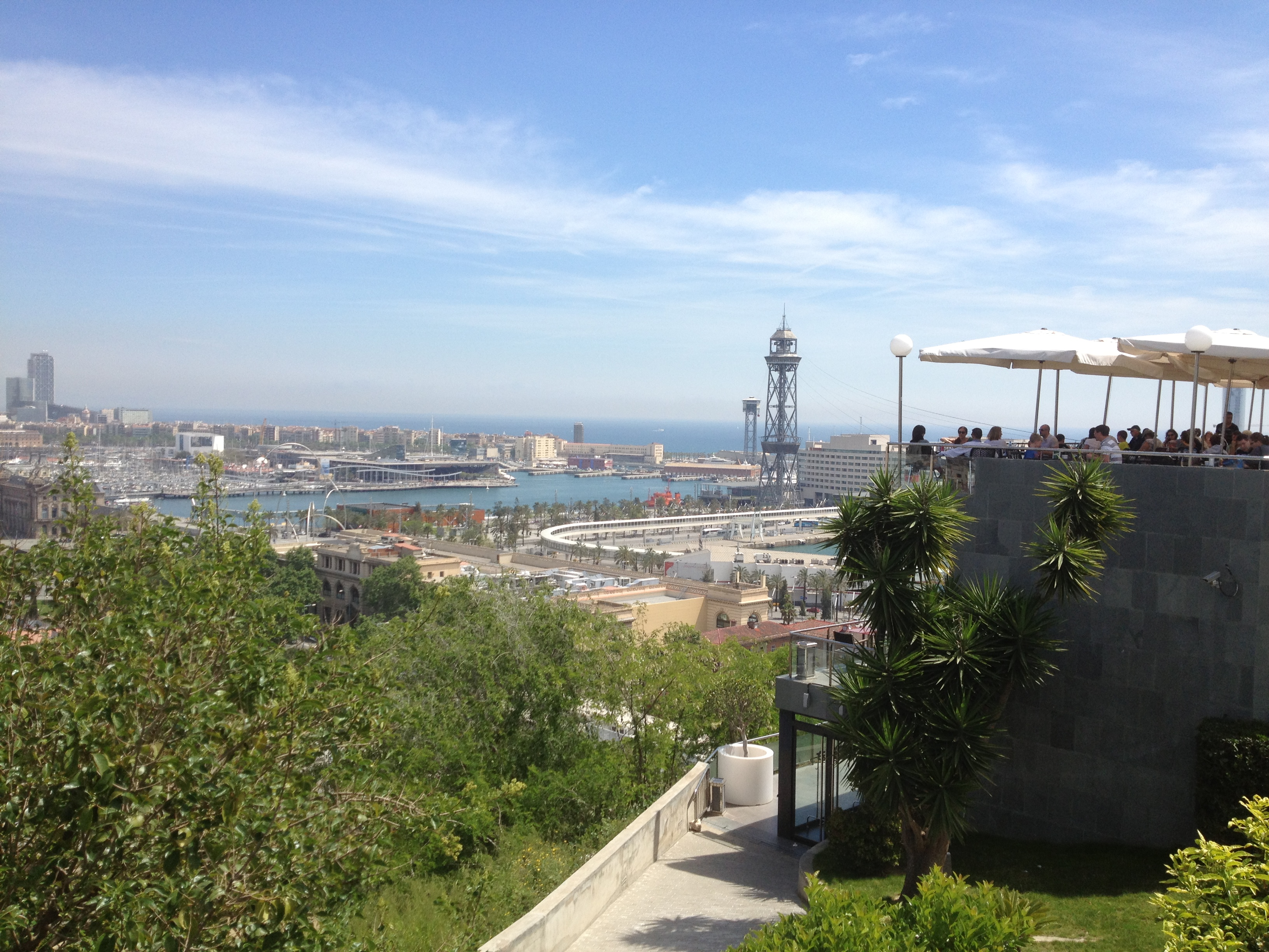 Aerial tram tower from park