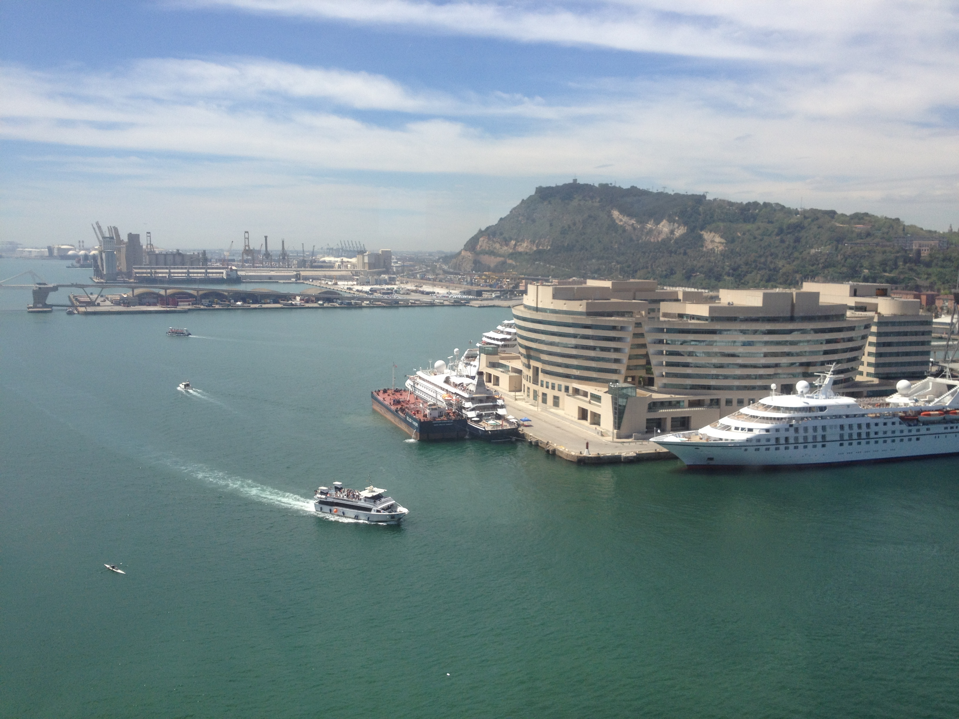 View of boats from Barcelona aerial tram
