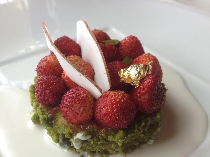 Jules Verne gold flake dessert