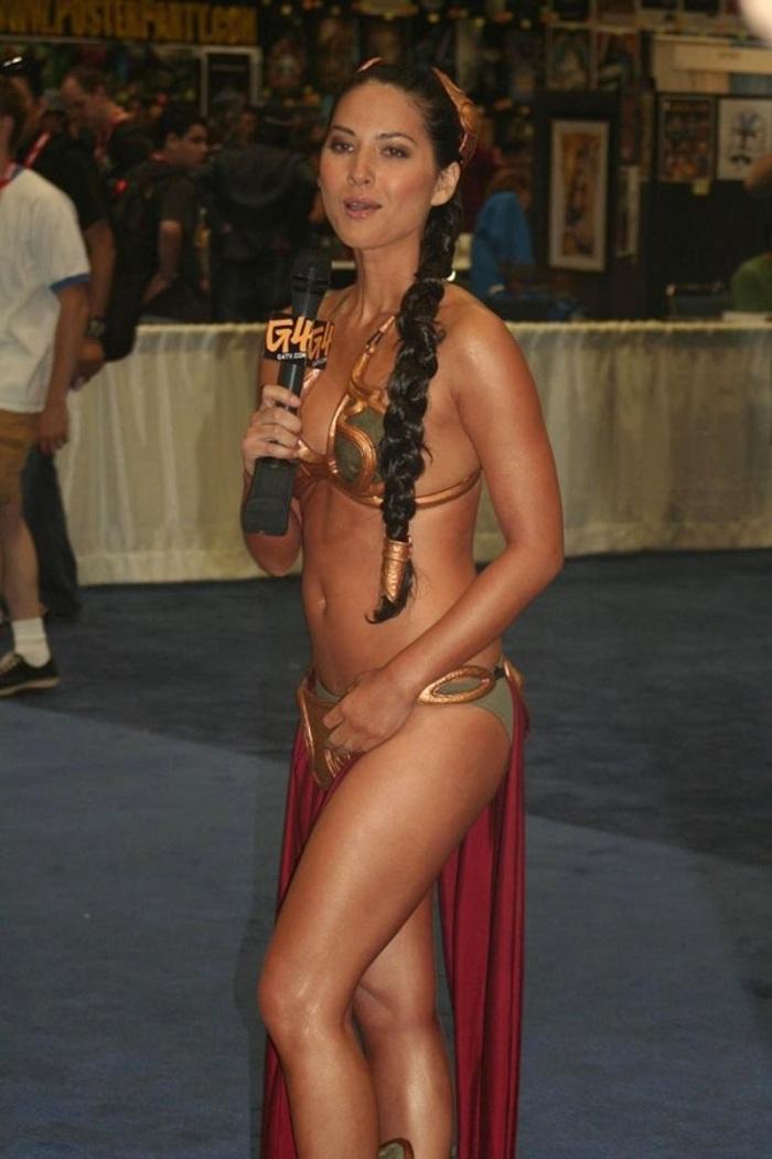 Olivia Munn Princess Leia metal bikini 1