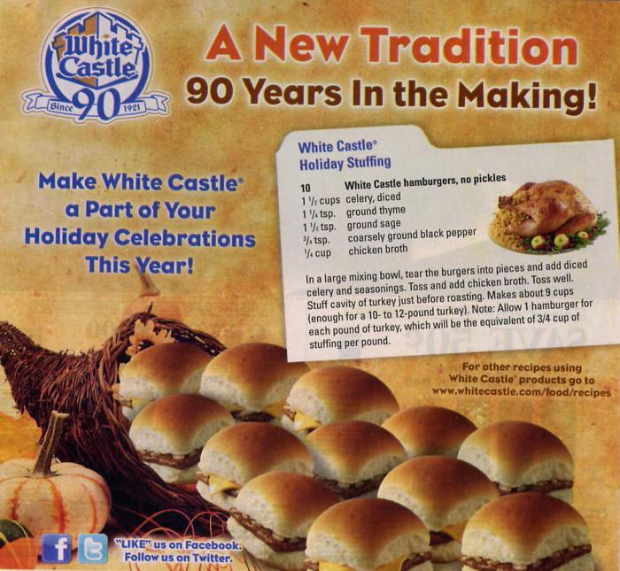 White Castle Turkey stuffing recipe