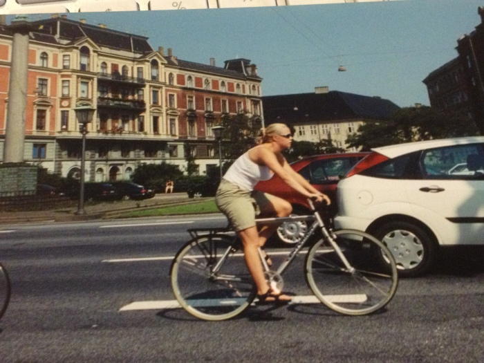 Danish blonde biking