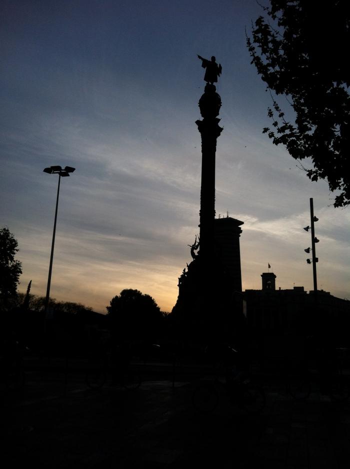 Barcelona night statue