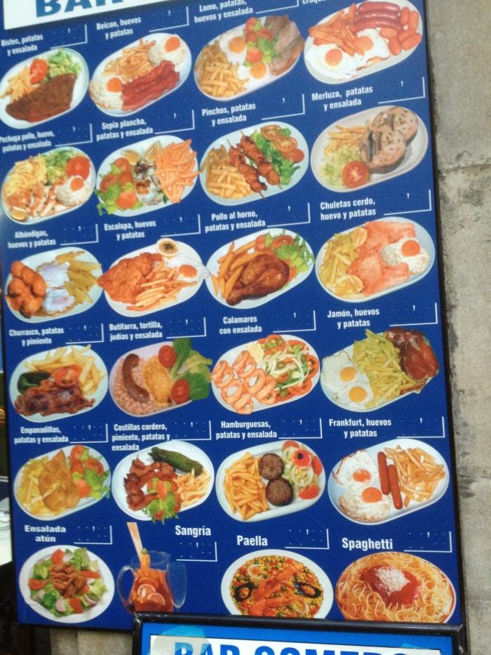 Comerc bar menu