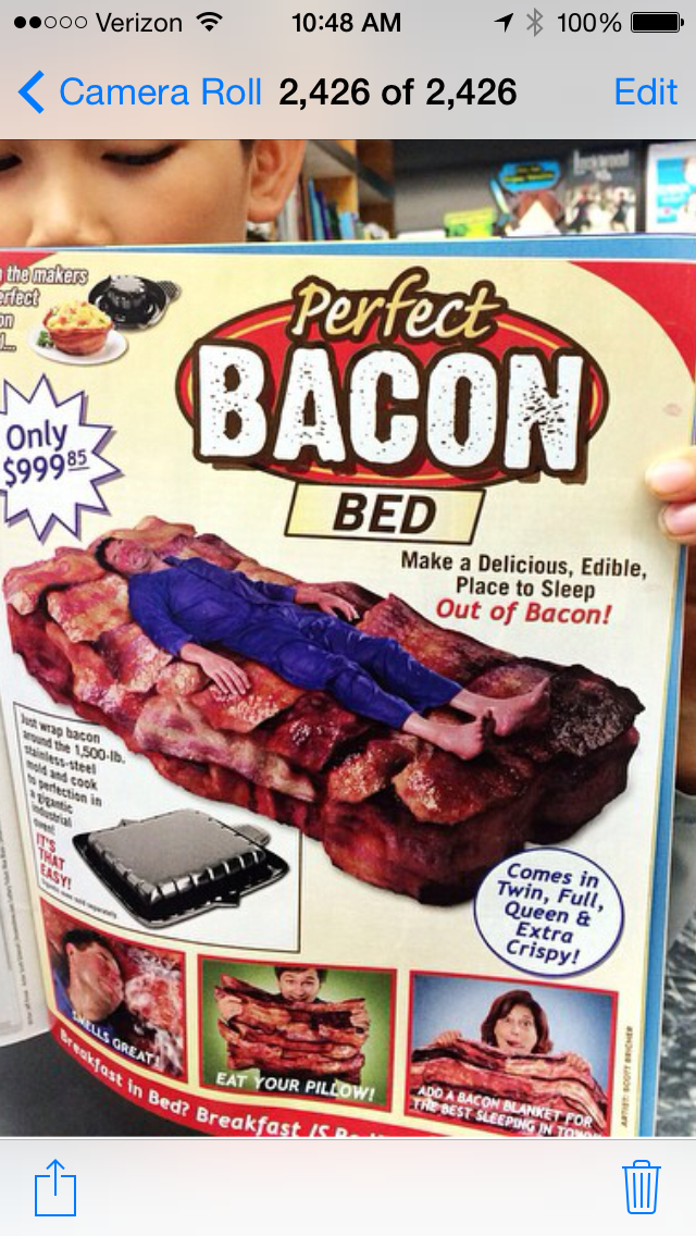wacky bacon gifts bacon bed