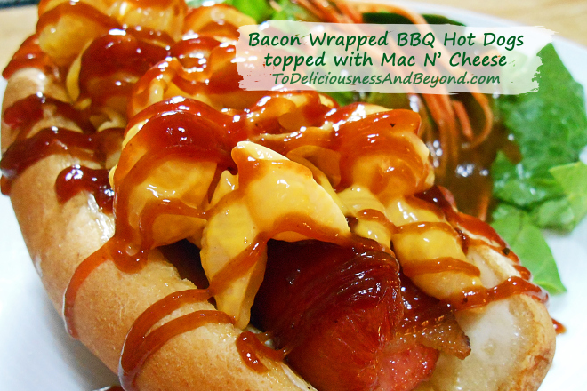 bacon-wrapped-bbq-hot-dogs-topped-with-mac-n-cheese
