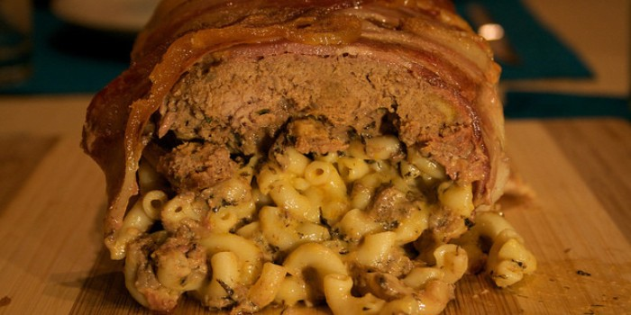 bacon wrapped mac and cheese meatloaf