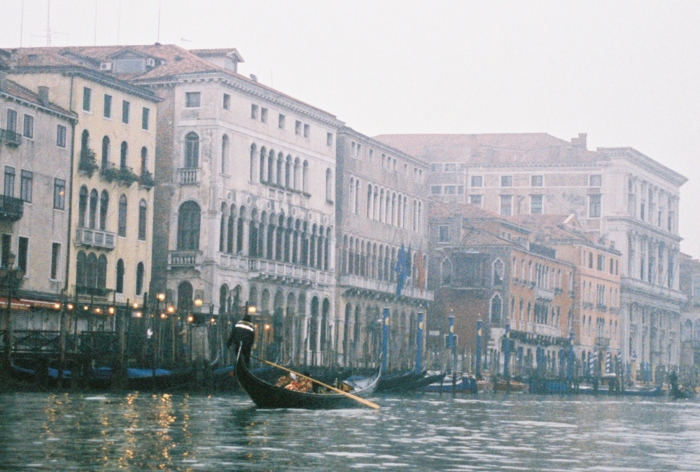 Foggy Venice canal and gondolas