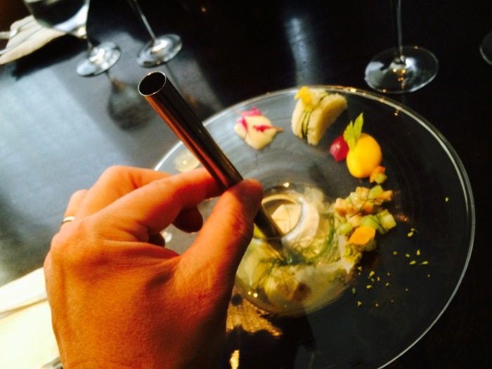Alinea recipes clam nectar with straw