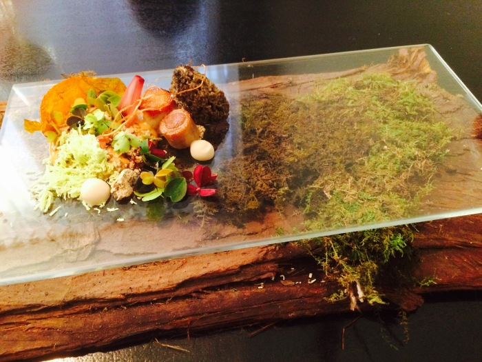 Rabbit served over redwood moss Alinea style
