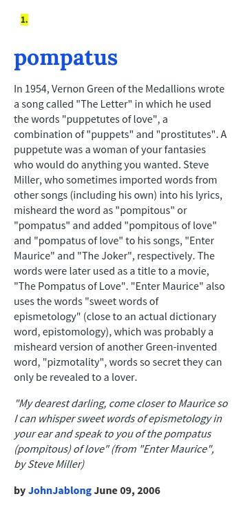pompitous of love definition