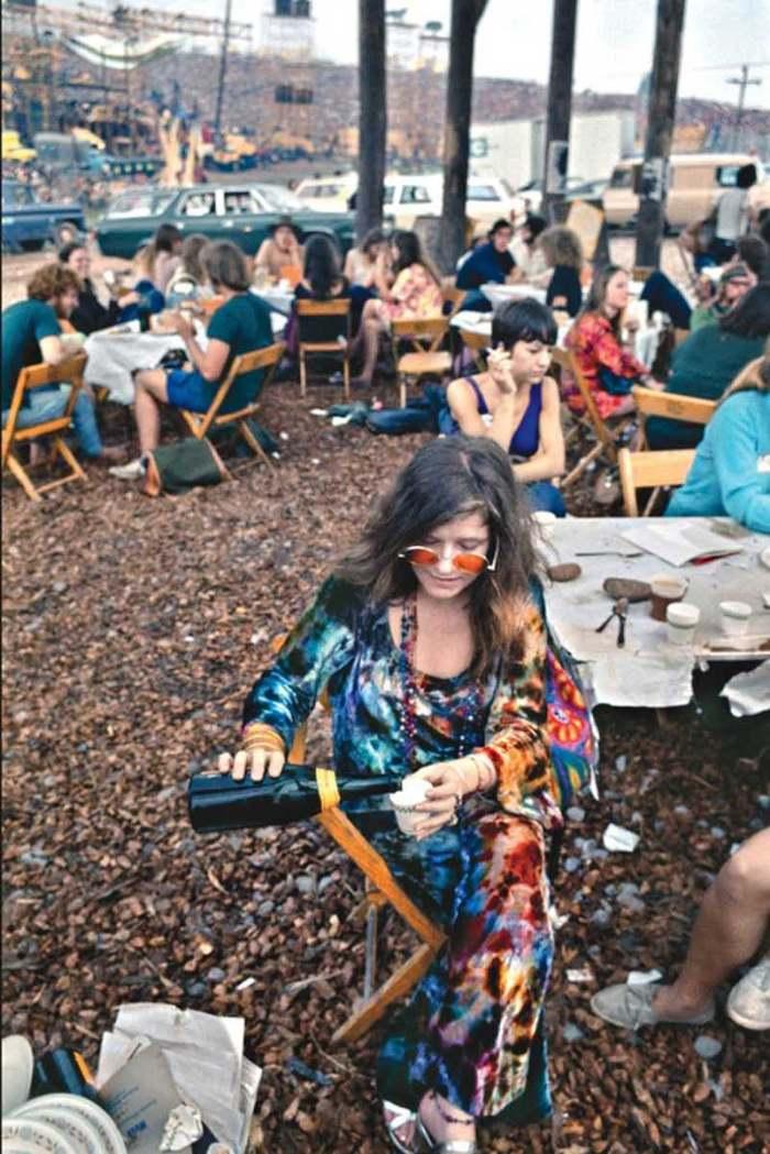 Janis Joplin Woodstock drinking