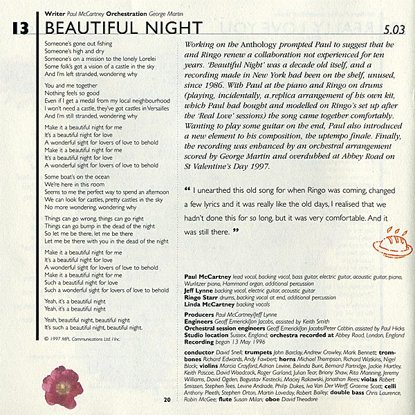 Paul McCartney Beautiful Night