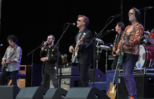 Ringo Star at the Santa Barbara Bowl with his band Richard Page, Steve Lukather, Starr, Todd Rundgren, Gregg Bissonette, and Gregg Rolie (July 11, 2014)