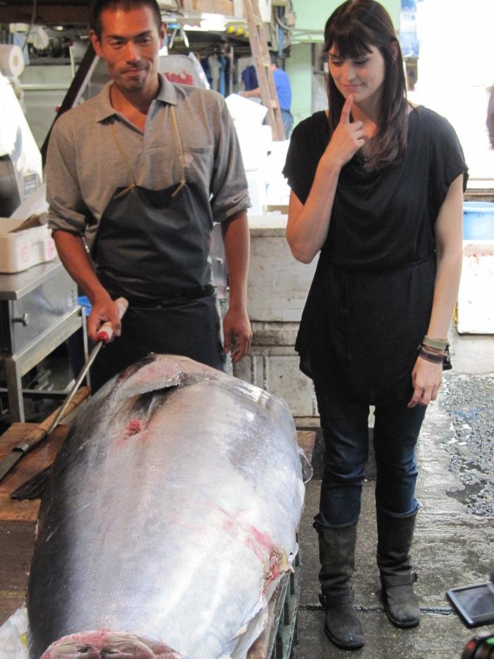 morgan webb slices giant tuna tokyo fish market