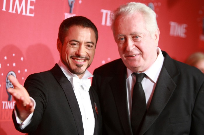 NEW YORK - MAY 08:  Actor Robert Downey Jr. and father Robert Downey Sr. arrive at TIME's 100 Most Influential People Gala at Frederick P. Rose Hall on May 08, 2008 in New York City.  (Photo by Stephen Lovekin/Getty Images)
