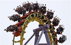 china roller coaster stranded upside down