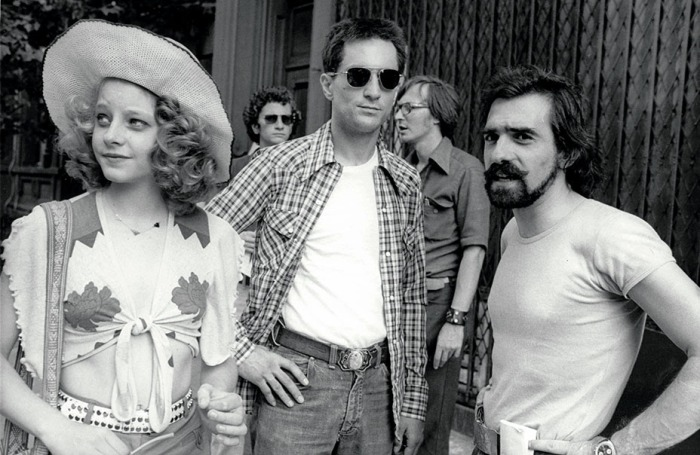 Taxi Driver (1976) Directed by Martin Scorsese Shown from left on the set: Jodie Foster, Robert De Niro, director Martin Scorsese