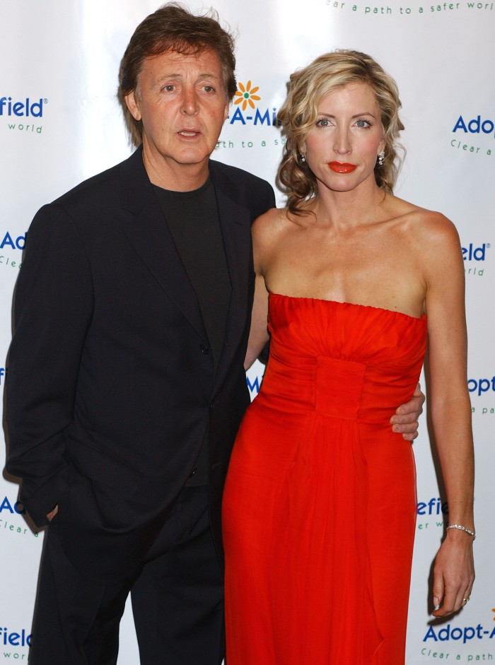 Paul McCartney and Heather Mills at the Century Plaza Hotel in Century City, California (Photo by Gregg DeGuire/WireImage)