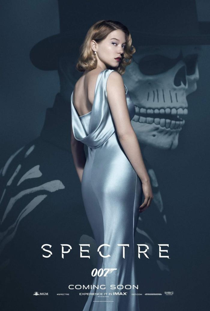 james-bond-girl-spectre-look-lea-seydoux-grey-dusty-satin-silk-maxi-dress-poster