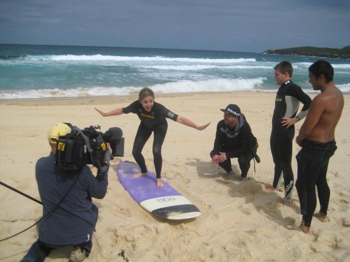 Alison Haislip surfs Australia