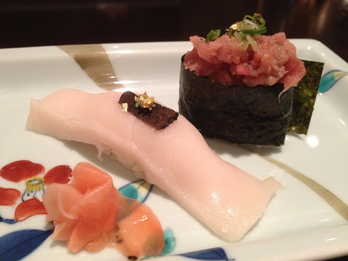 yellowtail sushi with truffle
