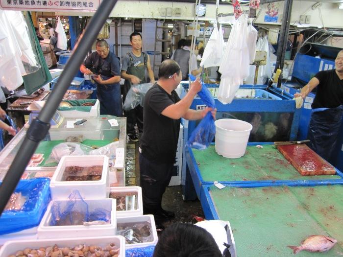 tokyo fish market overhead of fish workers
