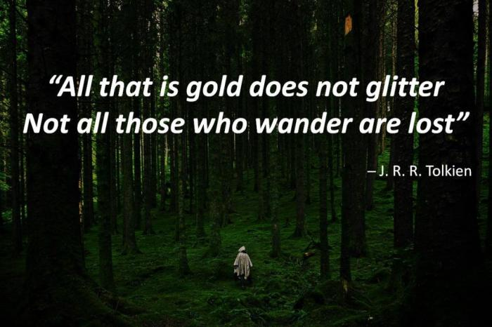 """All that is gold does not glitter Not all those who wander are lost"" ─ J. R. R. Tolkien In the background is a wanderer in a dark, green forest"