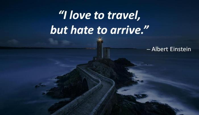 """I love to travel, but hate to arrive."" --- Albert Einstein. On the background is a long road to a lighthouse."
